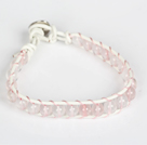 6mm Rose Quartz Leather Bracelet with Metal Clasp
