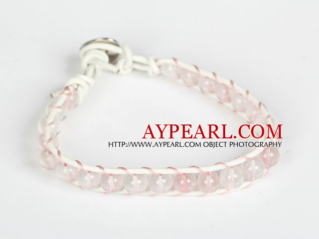 6mm Rose Quartz Leather Bracelet with Metal Clasp