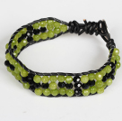 Three Rows Faceted Olivine Jade and Blue Crystal Leather Bracelet with Metal Clasp