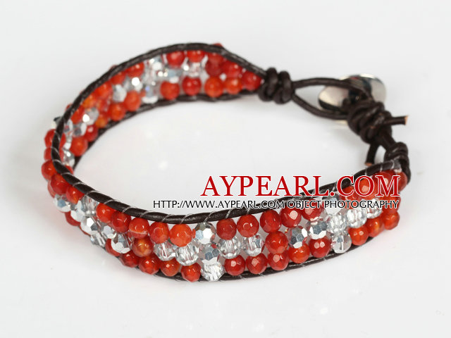 Three Rows Faceted Carnelian and Clear Crystal Leather Bracelet with Metal Clasp
