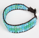 Three Rows Faceted Green Agate and Blue Jade Leather Bracelet with Metal Clasp