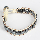 Heart Shape Tungsten Steel Stone Leather Bracelet with Metal Clasp