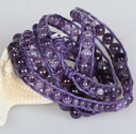 Wholesale Natural Round Amethyst Beads Six Times Wrap Bangle Bracelet