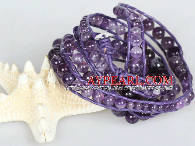 Natural Round Amethyst Beads Six Times Wrap Bangle Bracelet