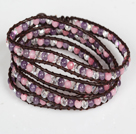 Wholesale Amethyst and Pink Jade and Clear Crystal Four Times Wrap Bangle Bracelet