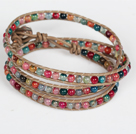 Assorted Multi Color Agate Beads Wrap Bangle Bracelet