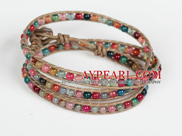 Assorted Multi Color Agate Beads Wrap Bangle Bracelet
