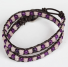 Wholesale Purple Jade and Rose Quartz Wrap Bangle Bracelet
