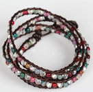 Clear Crystal and Multi Color Agate Wrap Bangle Bracelet