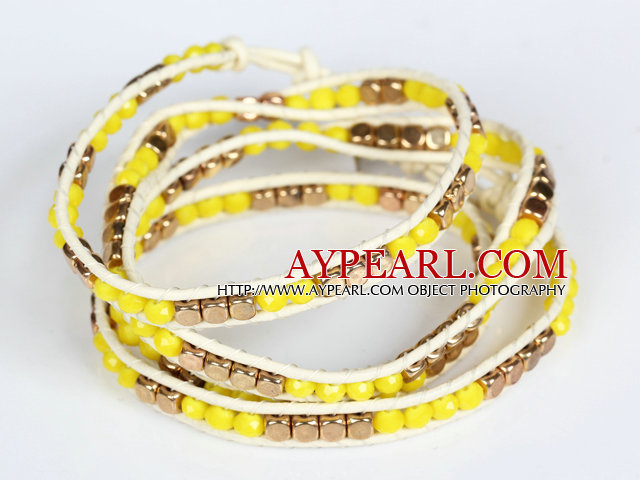 Yellow Crystal and Copper Beads Four Times Wrap Bangle Bracelet