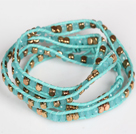 Discount Lake Blue Crystal and Copper Beads Four Times Wrap Bangle Bracelet