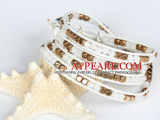 Clear Crystal and Copper Beads Four Times Wrap Bangle Bracelet