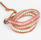 Pink Jade and White Jade and Clear Crystal Wrap Bangle Bracelet