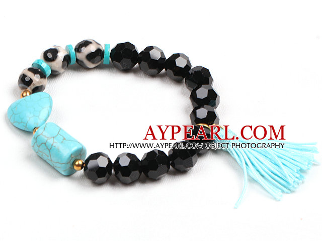 Simple Cylinder And Heart Shape Blue Turquoise Hand-Painted Agate Black Crystal Beads Stretch / Elastic Bracelet With Blue Tassel