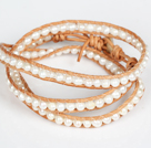 4-5mm Natural White Freshwater Pearl Leather 3 Times Wrap Bangle Bracelet