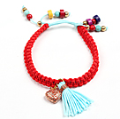 Beautiful Turquoise Coral Red Thread Woven Adjustable Drawstring Bracelet With Blue Tassel And Golden Rose Color Hollow Heart