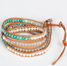 Pearl and Turquois and Amazon Stone Beads Four Times Wrap Bangle Bracelet