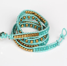 Wholesale Blue Jade and Copper Beads Four Times Wrap Bangle Bracelet