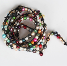 Assorted Multi Color Freshwater Pearl Beads Six Times Wrap Bangle Gracelet