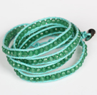 Wholesale 4mm Green Color Candy Jade Beads Four Times Wrap Bangle Gracelet