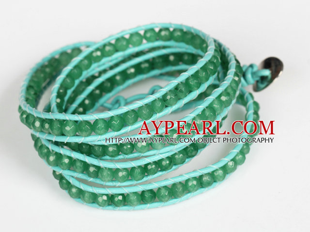 4mm Green Color Candy Jade Beads Four Times Wrap Bangle Gracelet