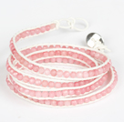 Wholesale 4mm Pink Color Candy Jade Beads Four Times Wrap Bangle Gracelet
