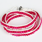 Wholesale 4mm Hot Pink Color Candy Jade Beads Four Times Wrap Bangle Gracelet