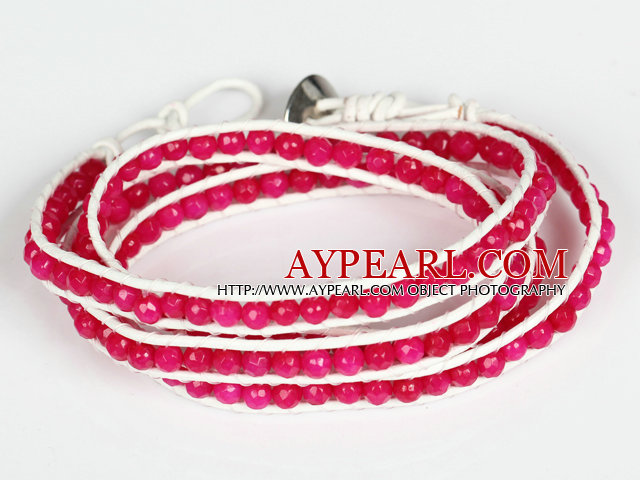 4mm Hot Pink Color Candy Jade Beads Four Times Wrap Bangle Gracelet