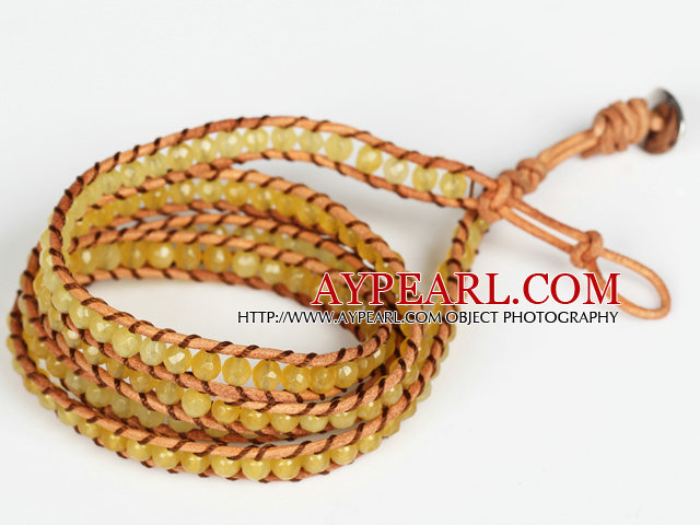 4mm Yellow Color Candy Jade Beads Four Times Wrap Bangle Gracelet