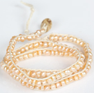 3-4mm Baby Pink Pearl Beads Three Times Wrap Bangle Bracelet with Shell Clasp