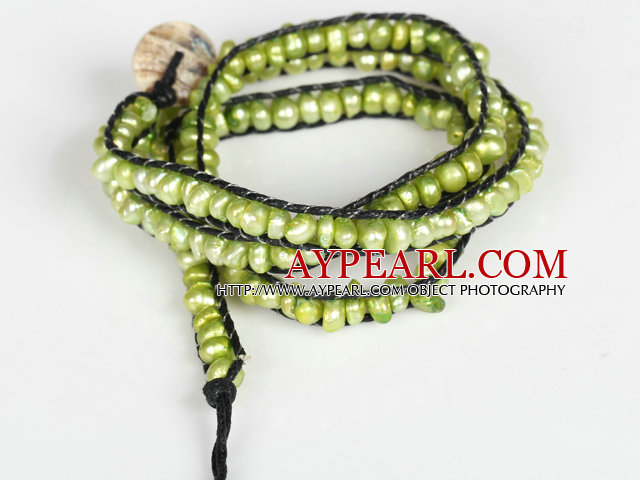 3-4mm Green Pearl Beads Three Times Wrap Bangle Bracelet with Shell Clasp