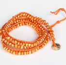 3-4mm Orange Pearl Beads Three Times Wrap Bangle Bracelet with Shell Clasp
