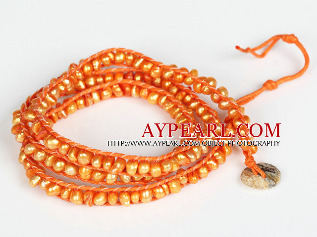 3-4mm Orange Pearl pärlor tre varv Wrap Bangle Armband med Shell Lås e7b3597c20339