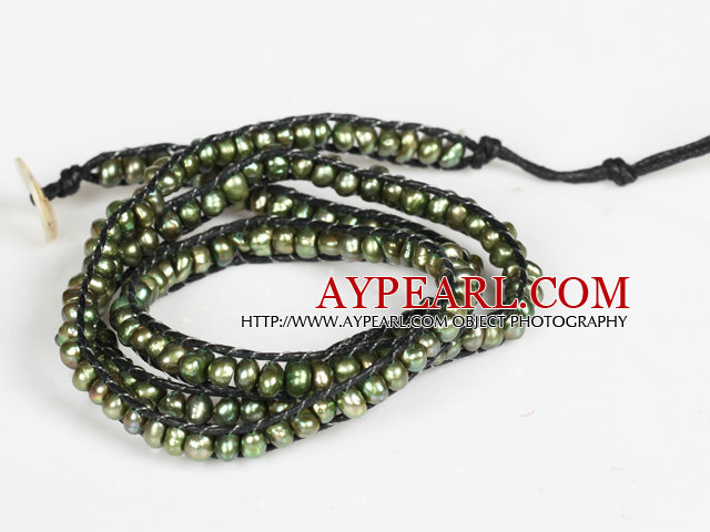 3-4mm Army Green Pearl Beads Three Times Wrap Bangle Bracelet with Shell Clasp