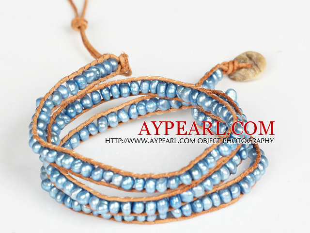 3-4mm Blue Pearl Beads Three Times Wrap Bangle Bracelet with Shell Clasp