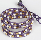 Wholesale Amethyst and White Porcelain Stone and Copper Beads Wrap Bangle Bracelet
