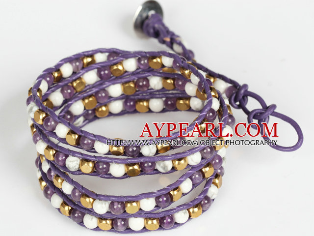 Amethyst and White Porcelain Stone and Copper Beads Wrap Bangle Bracelet