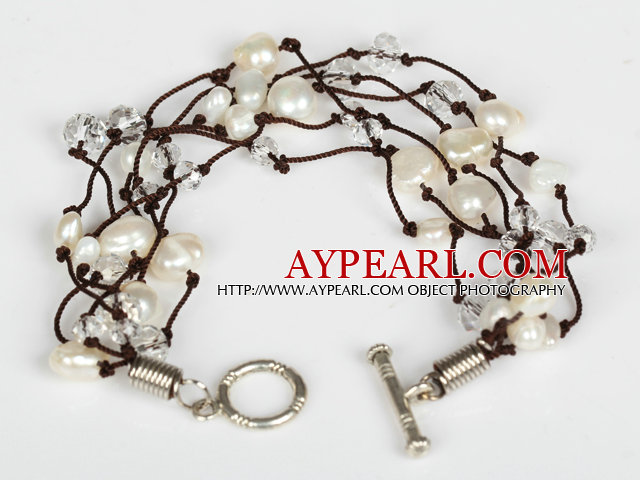 Assorted Natural White Freshwater Pearl Crystal Bracelet with Toggle Clasp