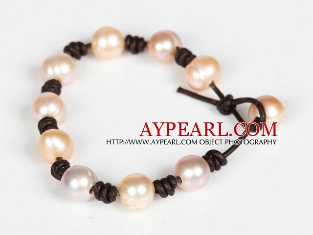 10-11mm Pink Freshwater Pearl Leather Bracelet with Pearl Closure