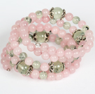 Wholesale Wrap Bracelet Rose Quartz and Prehnite Beads Wrap Bangle Bracelet