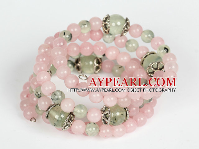 Wrap Bracelet Rose Quartz and Prehnite Beads Wrap Bangle Bracelet