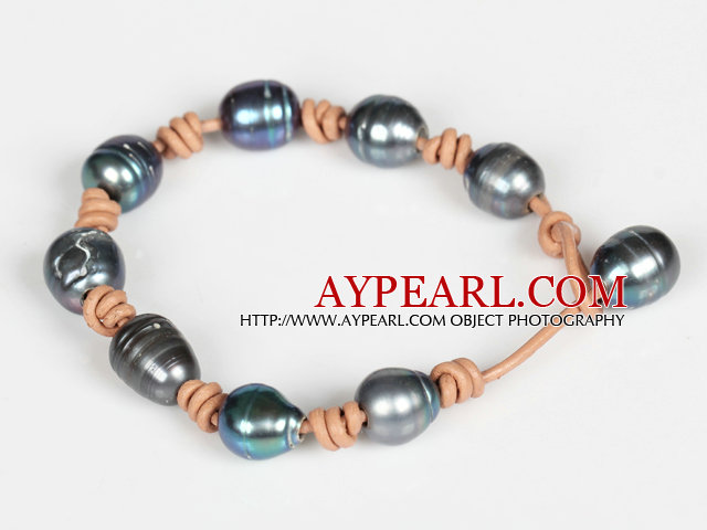 10-11mm Black Freshwater Pearl Leather Bracelet with Pearl Closure