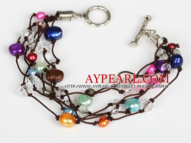 Assorted Multi Color Freshwater Pearl and Clear Crystal Bracelet with Toggle Clasp