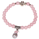 Cute Bracelet Rose Quartz Stretch Bracelet with Tibetian Silver Cross Accessory and Pearl Pendant