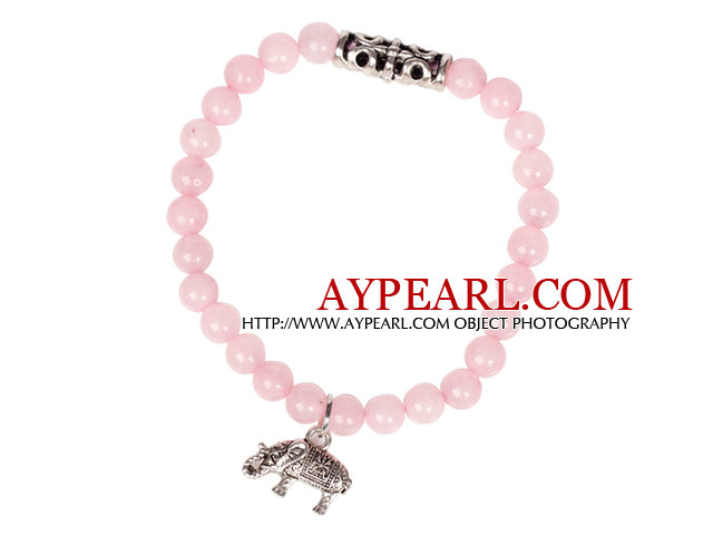 Cute Bracelet Rose Quartz Stretch Bracelet with Tibetian Silver Elephant Accessory