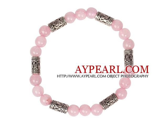 Cute Bracelet Rose Quartz Stretch Bracelet with Tibetian Silver Accessories