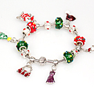 Wholesale Fashion Style Charm Christmas Bracelet with Santa Claus and Christmas Tree and Dress Pendant