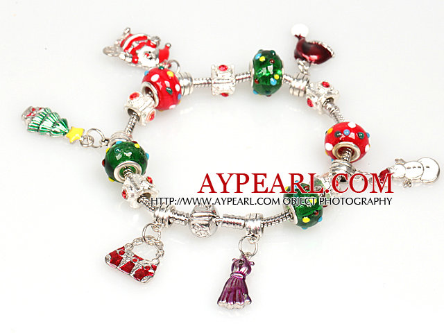 Fashion Style Charm Christmas Bracelet with Santa Claus and Christmas Tree and Dress Pendant