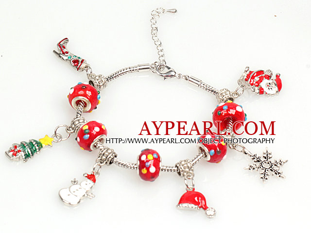 Fashion Style Red Charm Christams Bracelet with Extendable Chain