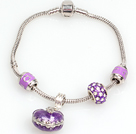 Fashion Style Color Purple Charm Bracelet avec pendentif Box souhaits